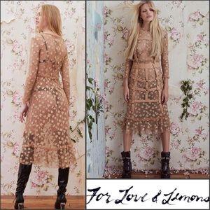 4e11fb9aa8 For Love And Lemons Dresses | Nwt Fll Golden Garden Tulle Midi ...
